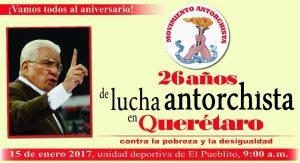 Movimiento: Antorcha Campesina está invitando a la celebración de sus 26 años de lucha, este domingo en la Unidad Deportiva de Corregidora, con la presencia del líder nacional, Aquiles Córdova Morán, y la dirigencia local de Jerónimo Gurrola. FOTO: ANTORCHA CAMPESINA