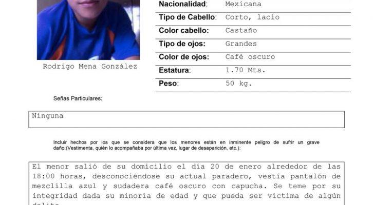 Activación Alerta AMBER Gto- Rodrigo Mena González de 14 años, Celaya, Gto