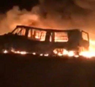 Incendio por toma clandestina en Santa Matilde SJR