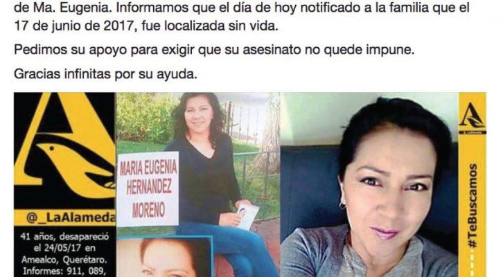 Localizan asesinada a mujer desaparecida en mayo en Amealco