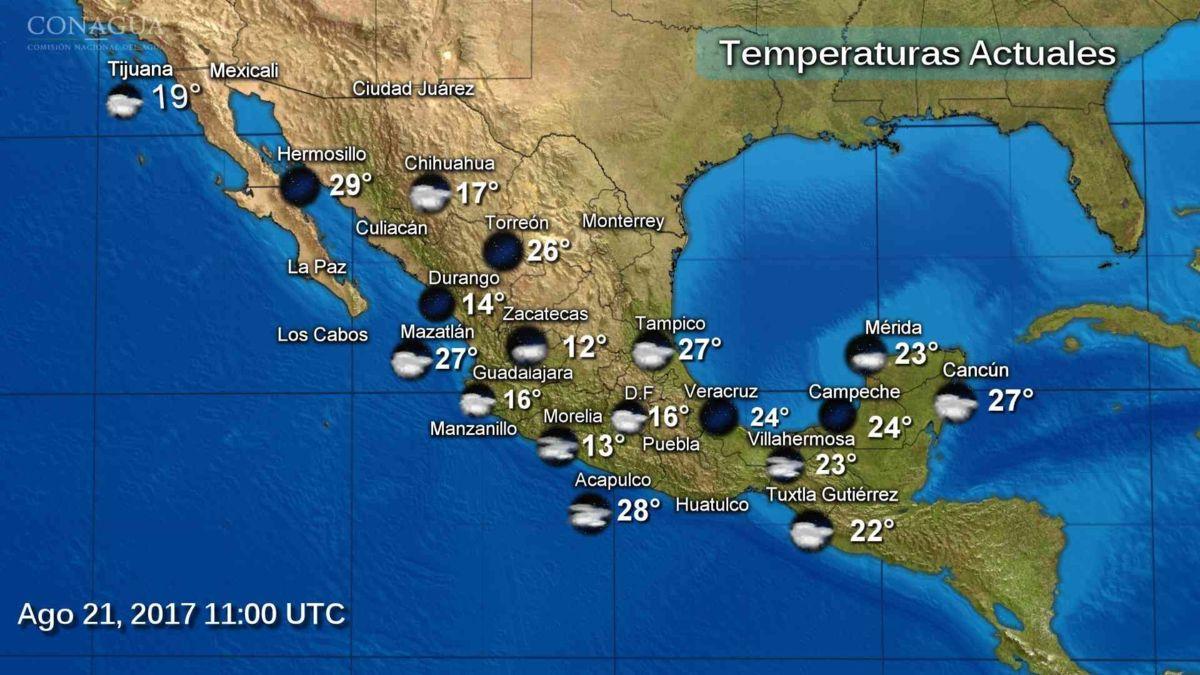 Pronostican ambiente caluroso para 10 estados de la República mexicana