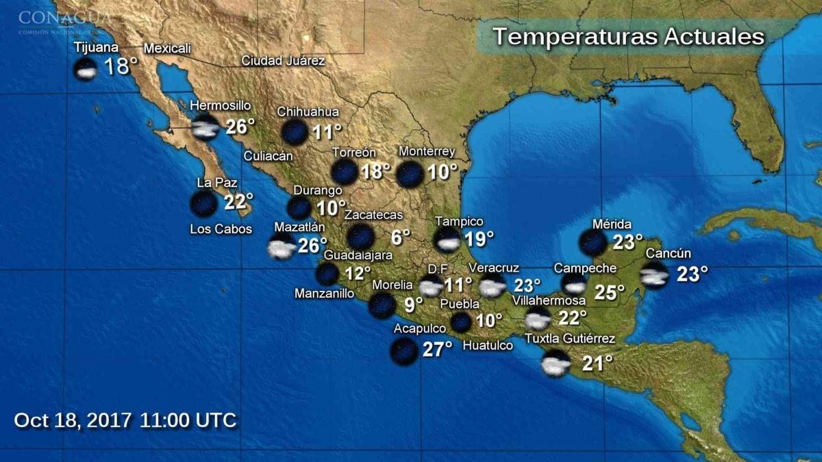 Ambiente frío y lluvias se prevén en gran parte del país