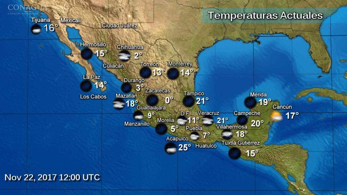 Prevén descenso de temperatura en gran parte del país