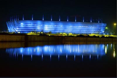 Espectacular iluminación del estadio Kaliningrado, sede de Rusia 2018
