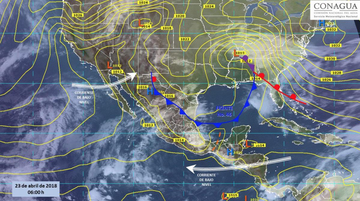 Se prevén nublados y lluvias en el Golfo de México por frente frío 46