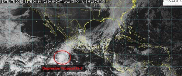 Se forma en el Pacífico Depresión Tropical 25-E; si se fortalece se llamaría Xavier