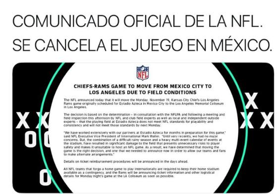 CANCELAN JUEGO DE NFL EN CDMX - Plaza de Armas  f542fddf450