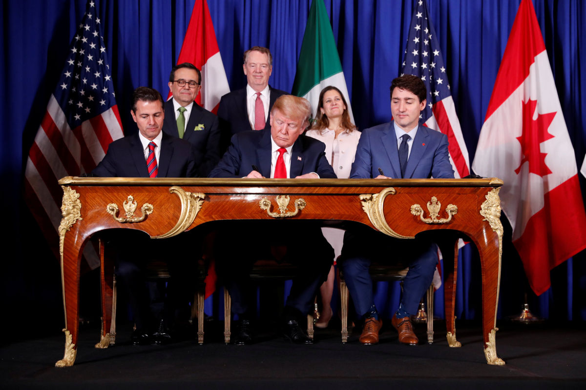 Donald Trump, Justin Trudeau y Enrique Peña Nieto firman el T-MEC (VIDEO)