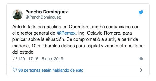OFRECE PANCHO FIN A DESABASTO EN QUERÉTARO